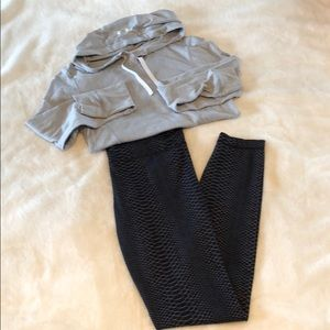Workout legging with light weight hoody